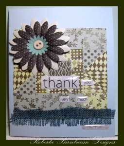 Card Thank you very much faux quilt
