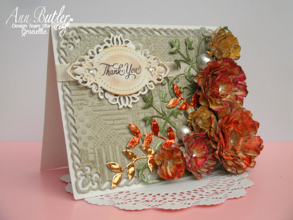 Graciellie - Card - Autumn - Fall - Handmade Flowers - Crafter's Ink - Ann Butler - Unity Stamps - Faux Quilting - Heat embossed background - Color Box Clear Embossing Powder