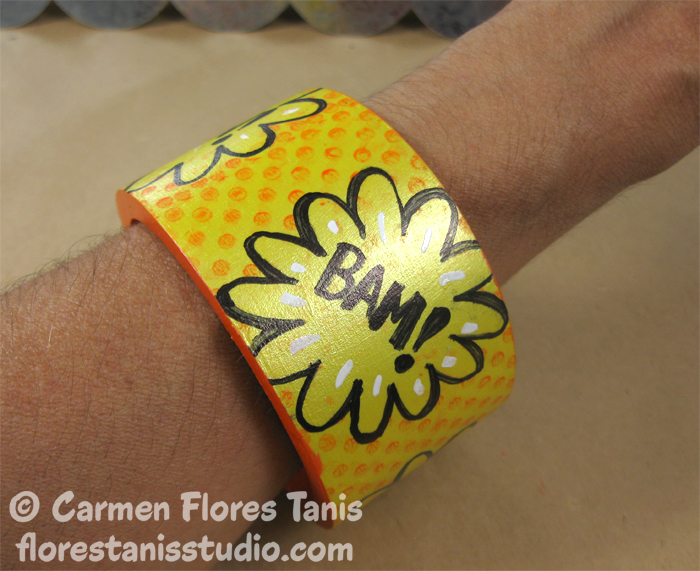 Unity-Stamps-Ann-Butler-Faux-Quilted-Stamped-Comic-Book-Bangle-Carmen-Flores-Tanis