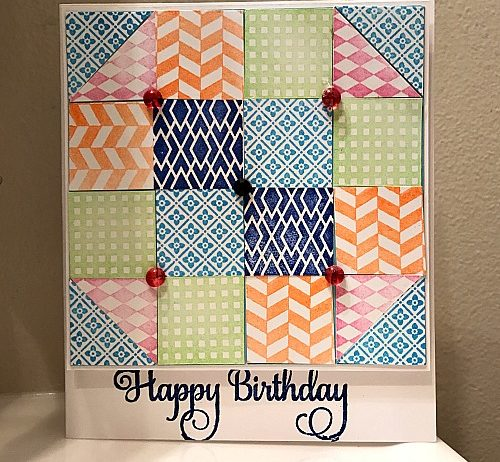 Ann Butler Designs Faux Quilt Stamped Card